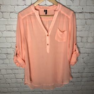 Maurices Pastel Peach Pink Sheer Rolled Sleeve Top